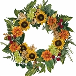 Sunflower, Zinnia, Berry and Raffia Wreath