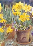 Potted Daffodils Garden Flag
