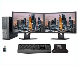 Dell Optiplex 7010 Desktop with 2 E2417H Monitors, Keyboard and Mouse, WiFi Card, and Gel Mousepad from Aventis Systems