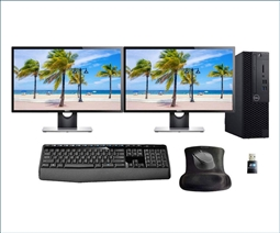 Dell Optiplex 3060 SFF PC Bundle with 2 Dell E2417H Monitors, Keyboard, Mouse, Mousepad, and WiFi Adapter Special from Aventis Systems