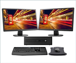 HP ProDesk 600 G1 SFF Bundle with 2 HP 24uh Monitors, Wireless Keyboard, Mouse and WiFi Special from Aventis Systems