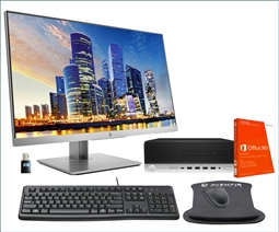 HP EliteDesk 705 G5 SFF PC Desktop Bundle with HP E243 Monitor, Office 365, WiFi, Keyboard, Mouse, and Mouse Pad from Aventis Systems
