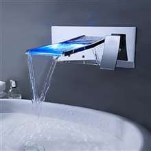 Lucania Wall Mount LED Waterfall Bathroom Sink Faucet