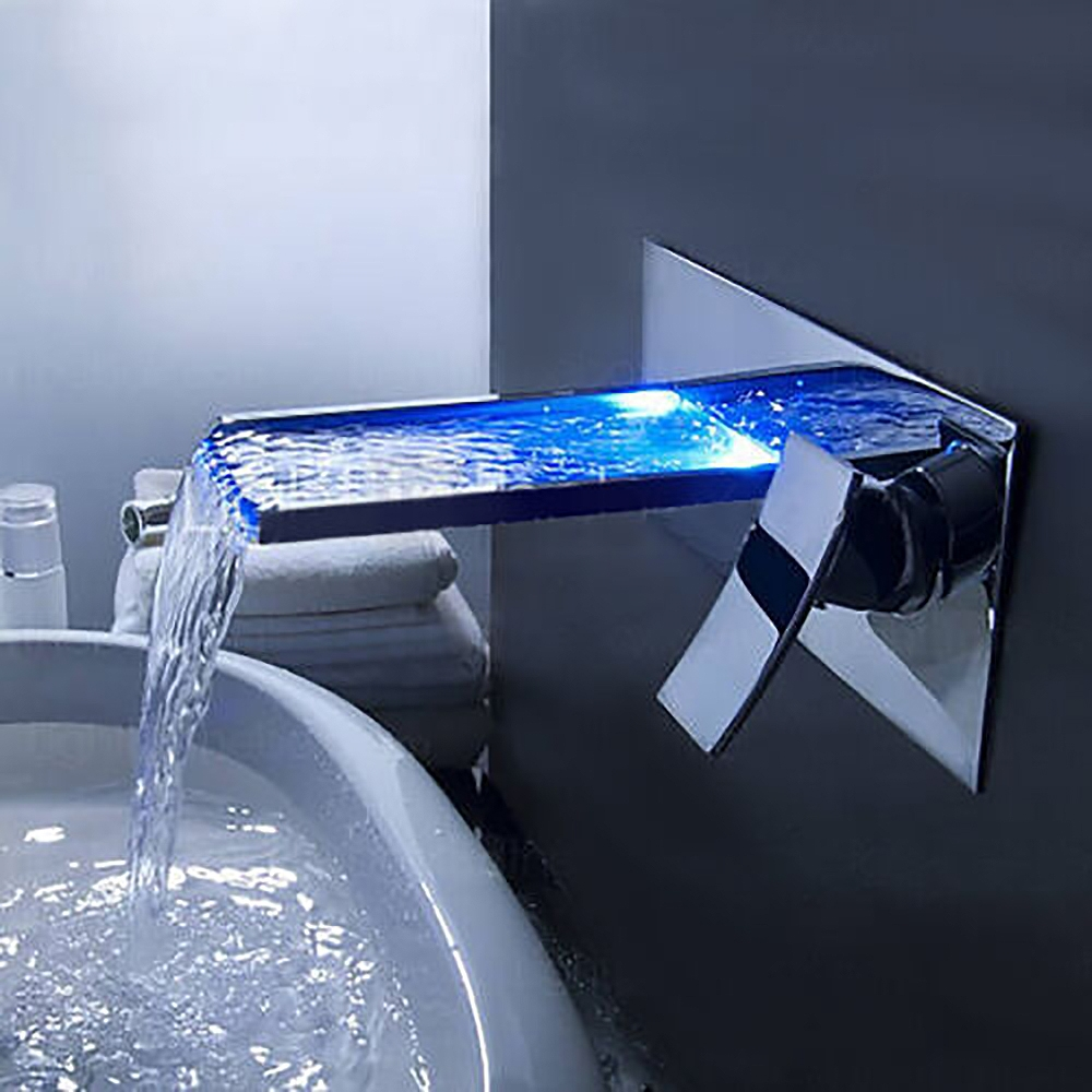 lucania wall mounted led waterfall bathroom sink faucet - Wall Mounted Bathroom Sink