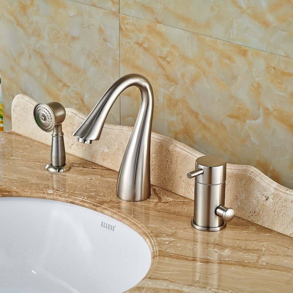 Laconian Brushed Nickel Bathroom Sink Faucet With Handheld Shower