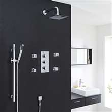 Fontana Edinburgh Chrome Finish Wall Mount Thermostatic Rainfall Shower Set With 4 Body Massage Jets