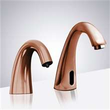Fontana Rose Gold Commercial Automatic Motion Sensor Bathroom Faucet with Matching Soap Dispenser