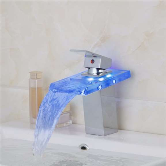 Bend Glass LED Chrome Bathroom Sink Faucet