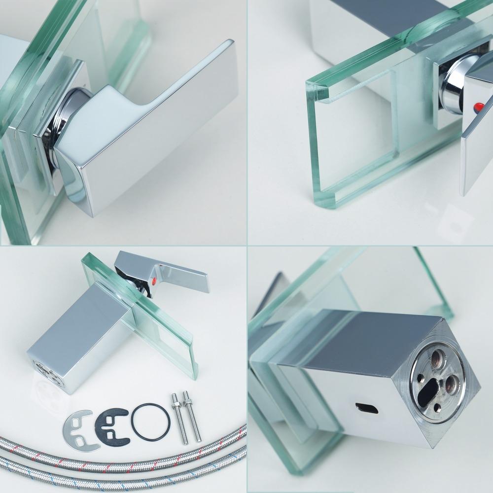 18CM Glass LED Bathroom Sink Faucet Single lever Brass Chrome Finish