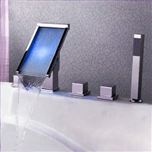 Triple Handle LED Waterfall Bath-Tub Faucet