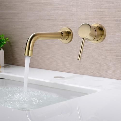 Wall Mount Golden Bathtub Basin 2 Handles Mixer Brass Faucet Hand Shower Taps