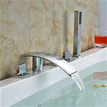 Abruzzo Chrome Finished Waterfall Spout Bathtub Mixer Faucet Deck Mount Roman Tub Filler