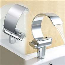 Gordola Chrome Brass Deck Mount Mixer Waterfall Sink Faucet