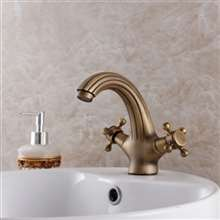 Brio Antique Bronze Bathroom Basin Faucet Roma Style Vintage Solid Brass with Double Cross Head Handle