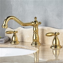 Alessandria Luxury Gold Deck Mount Bathroom Sink Faucet