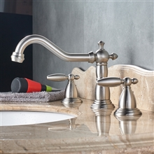 Alessandria Luxury Brushed Nickel Deck Mounted Bathroom Sink Faucet