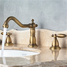 Alessandria Luxury Antique Brass Deck Mounted Bathroom Sink Faucet