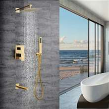 Alajuela Concealed Golden Plate Square Rain Shower Head