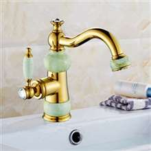 Aprilia Crystal And Jade Gold Bathroom Sink Faucet