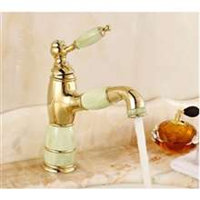 Apulia Brass and Jade Deck Mounted Gold Bathroom Sink Faucet