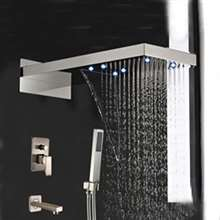 Paris Brushed Nickel Waterfall Rain Shower Head Tub Spout With Hand Shower Mixer Clear