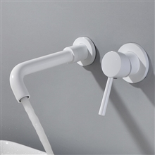 Geneva Matte Brass Wall Mount Single Handle White Bathroom Mixer Sink Faucet