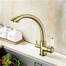 Juno 3 Way Deck Mount Antique Gold Sink Faucet