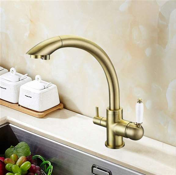 Lenox 2015 Wholesale New Arrival Solid Brass Antique Bronze Kitchen Faucet 3 Way Pure Water Drinking Sink Mixer Tap