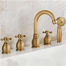 Reno 5pcs Bathtub Faucet in Antique Brass Deck Mount Bath Mixer with Hand Shower