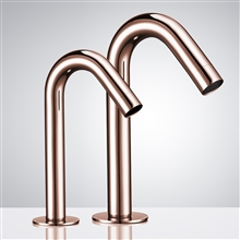 Fontana Rose Gold Commercial Automatic Dual Touch-Free Lavatory Bathroom Sink Sensor Faucet and Soap Dispenser