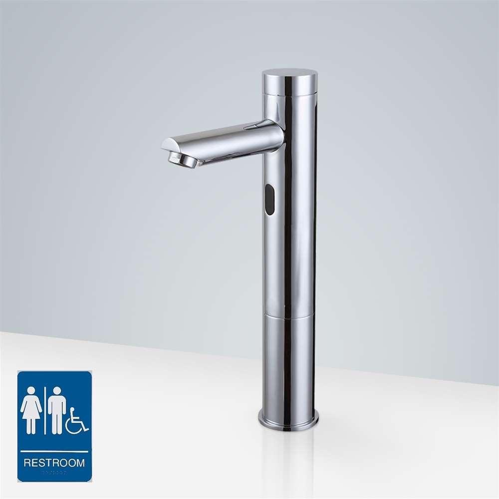 Beau Fontana Tall Automatic Touch Free Lavatory Bathroom Sink Sensor Faucet  Chrome Finish