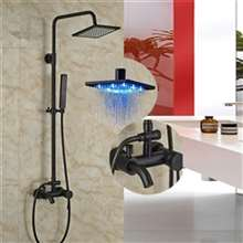 Renalto Single Handle LED Square Shower Head Wall Mount Shower Set Oil Rubbed Bronze W/ Hand Shower