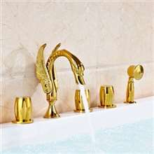 Amalfi Gold Finished Five Holes Bathroom Tub Faucet With Handheld Shower