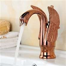Luna Rose Gold Brass Swan Vanity Sink Faucet