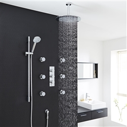 New Design Thermostatic 12 Inch Rain Shower Head System With 6 Body Massage Shower Jets