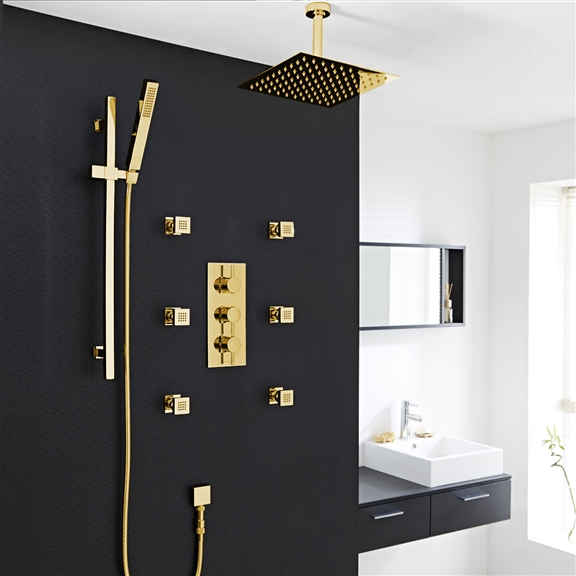 Gold Shower Set with Body Jet