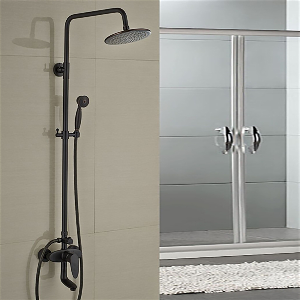 Milo Round Style Oil Rubbed Bronze Shower Faucet Set Single Handle Tub Mixer Tap W Hand Sprayer