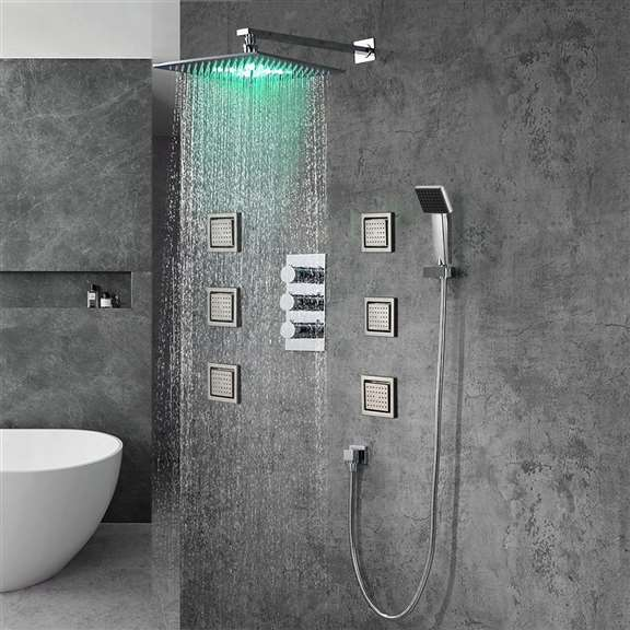 Fontana Milan Stainless Steel Jetted Body Massage LED Shower Head Set with Handheld Shower