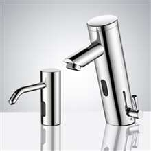 Platinum Commercial Automatic Temperature Control Thermostatic Sensor Tap with Matching Soap Dispenser