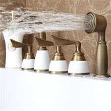 Creative 5Pcs BathTub Faucet Deck mount Three Handles With handshower