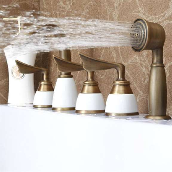 Creative 5PCS BathTub Faucet Deck mount Three Handles Mixer Tap With handshower