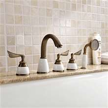 Luna-eLITE Triple Handle Antique Brass Bathtub Faucet With Hand Shower