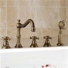 Brio Antique Brass Finish Bathtub Faucet with Hand Shower