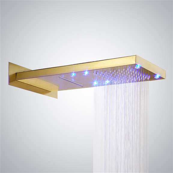 Lenox LED WaterFall/RainFall Gold Finish Shower Head