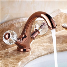 Euro Style Suex Rose Gold Plated Sink Faucet Dual Crystal Handles