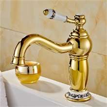 Rio Gold Plated Sink Faucet with Ceramic Accents Single Handle Mixer Tap