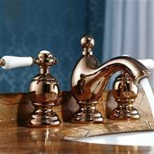 Rose Gold Plated 3 pcs Mixer Sink Faucet With Dual Ceramic Handle