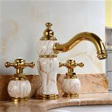 Leo Natural Jade Gold Finish Sink Faucet Dual Handles Mixer Tap Centerset