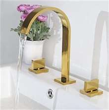 Venice Gold Plated 3pcs Dual Handles Centerset Mixer Bathroom Sink Faucet