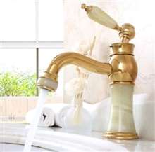 La Rochelle Luxury Gold-plate basin Faucet Single Jade Handle Centerset Mixer Tap